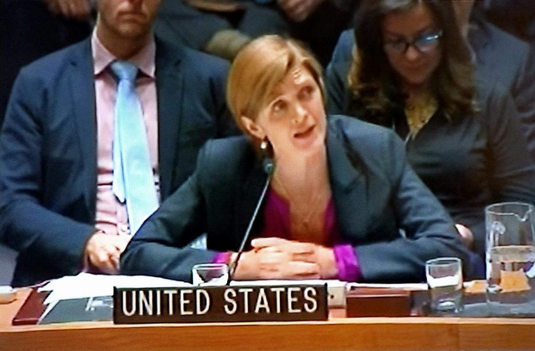 Samantha Power, US Ambassador to the UN, speaks after abstaining on an anti-settlement resolution, Dec 23,2016 (UN Screenshot)